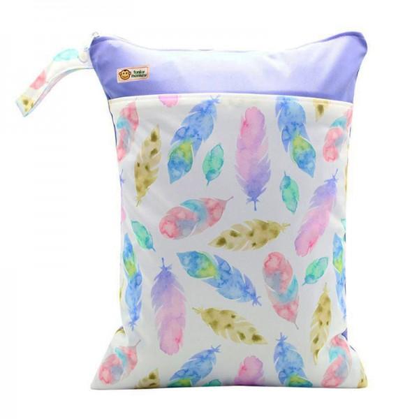 Τσάντα Wet & Dry πολύχρωμη - μωβ, με σχέδιο φτερά
