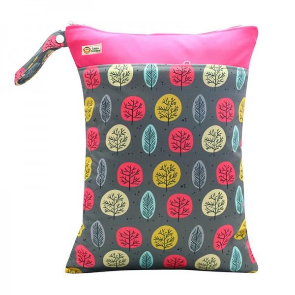 Τσάντα Wet & Dry πολύχρωμη - κόκκινη, με σχέδιο δεντράκια