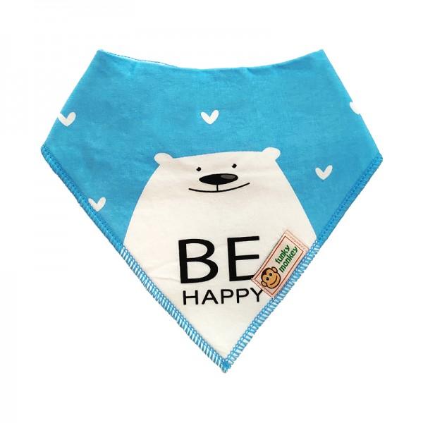 Σαλιάρα Μπαντάνα One Size μπλε - λευκή και τύπωμα, με σχέδιο αρκουδάκι
