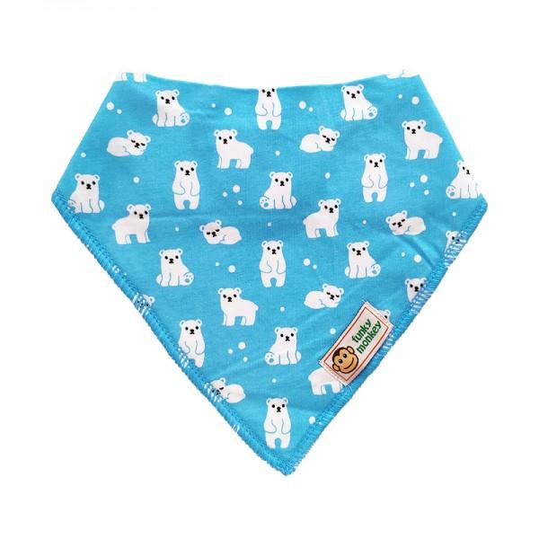 Σαλιάρα Μπαντάνα One Size γαλάζια-λευκή, με σχέδιο αρκουδάκια