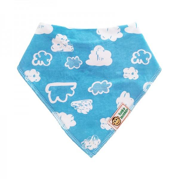 Σαλιάρα Μπαντάνα One Size γαλάζια - λευκή, με σχέδιο συννεφάκια