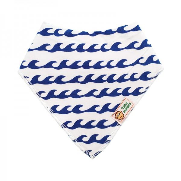 Σαλιάρα Μπαντάνα One Size μπλε - λευκή, με σχέδιο κύματα