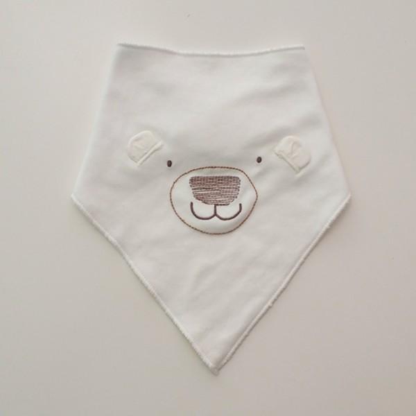 Σαλιάρα Μπαντάνα One Size αρκουδάκι, λευκή