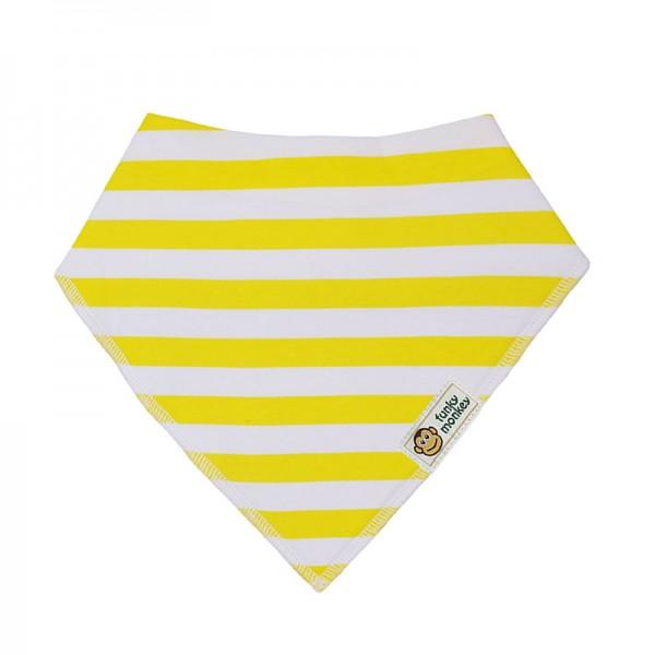 Σαλιάρα Μπαντάνα One Size κίτρινη - λευκή, ριγέ