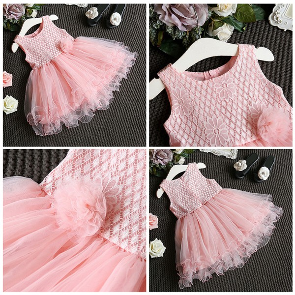 Φορεματάκι αμάνικο με τούλι, κέντημα και λουλούδι στη μέση, ροζ