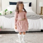 Φορεματάκι μακρυμάνικο με τούλι, χρυσαφί βούλες και ζώνη, ροζ