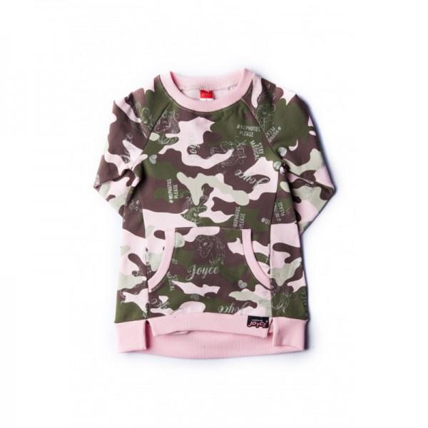 Μπλουζοφόρεμα φούτερ, παραλλαγή ροζ - χακί