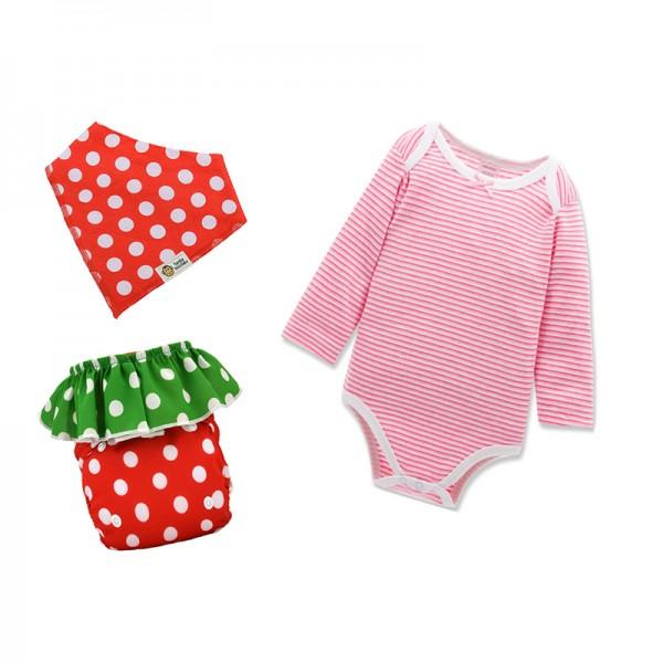 Σετ δώρου funky monkey υφασμάτινη πάνα φράουλα, ζιπουνάκι, και σαλιάρα μπαντάνα