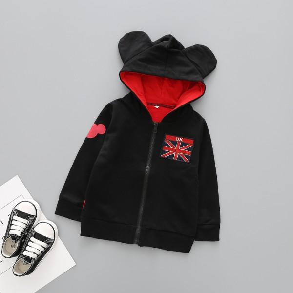 Ζακέτα Μίκυ με κουκούλα και αυτάκια, μαύρο - κόκκινο