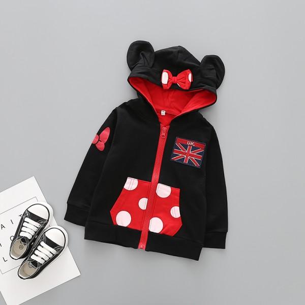 Ζακέτα Μίνι με κουκούλα, τσέπες, ραμμένο φιόγκο και αυτάκια, μαύρο - κόκκινο