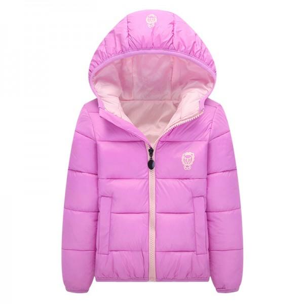 Μπουφάν με κουκούλα, ροζ