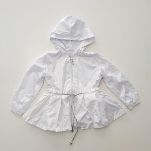 Ανοιξιάτικο / φθινοπωρινό μπουφανάκι με κουκούλα και ασημί κορδόνι, λευκό