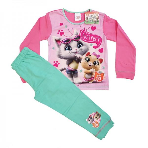 Πιτζάμες με σχέδιο 44 Γάτες, ροζ - βεραμάν