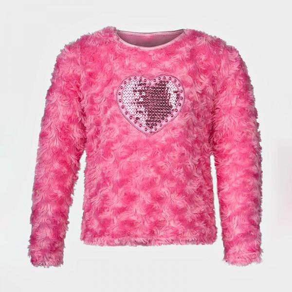 Μπλούζα μακρυμάνικη 'fluffy', με ραμμένη στάμπα καρδιά και πούλιες, ροζ