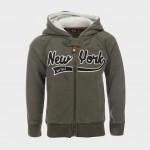 Ζακέτα 'New York' χακί, με γούνα στην κουκούλα και τσέπες, MINOTI