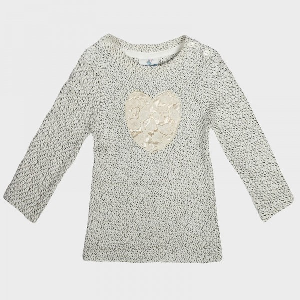 Μπλούζα χειμωνιάτικη, με ανάγλυφη στάμπα καρδούλα, λευκή με μαύρες πιτσιλιές, TopoMini