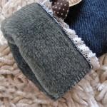 Φούτερ παντελόνι - κολάν τζιν look με επένδυση, φιόγκους και δαντέλα στο τελείωμα