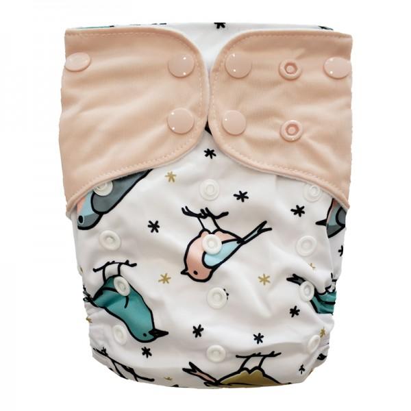 Πάνα Pocket One Size πολύχρωμη, με σχέδιο πουλάκια και ροζ φτερά