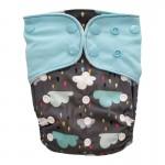 Πάνα Pocket One Size πολύχρωμη, με σχέδιο βροχή και γαλάζια φτερά