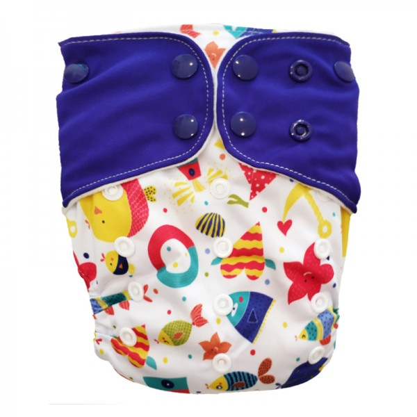 Πάνα Pocket One Size πολύχρωμη, με σχέδιο θάλασσα και μωβ φτερά
