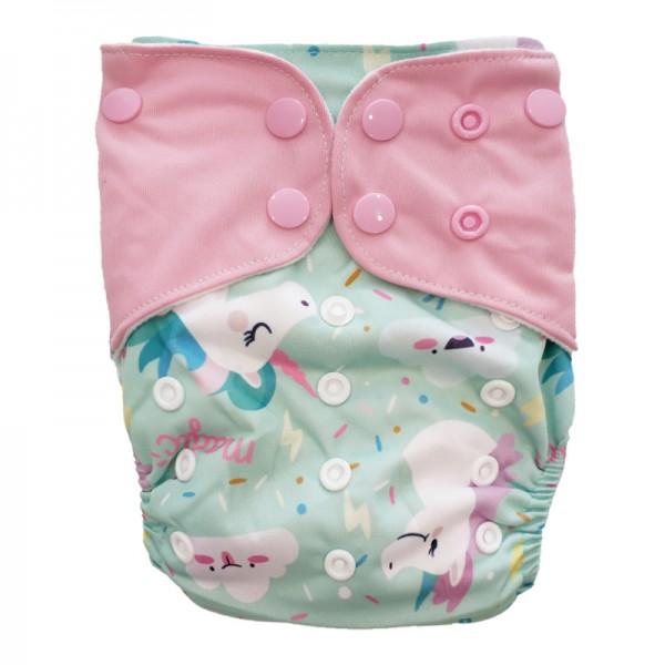 Πάνα Pocket One Size πολύχρωμη, με σχέδιο μονόκερος και ροζ φτερά