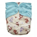 Πάνα Pocket One Size πολύχρωμη, με σχέδιο αρκουδάκια και γαλάζια φτερά