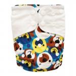 Πάνα Pocket One Size πολύχρωμη, με σχέδιο αρκουδάκια και λευκά φτερά