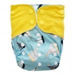 Πάνα Pocket One Size πολύχρωμη, με σχέδιο βαρκούλες και κίτρινα φτερά