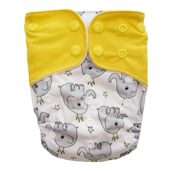 Πάνα Pocket One Size πολύχρωμη, με σχέδιο ελεφαντάκια και κίτρινα φτερά