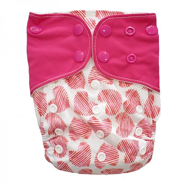 Πάνα Pocket One Size πολύχρωμη, με σχέδιο καρδούλες και φουξ φτερά
