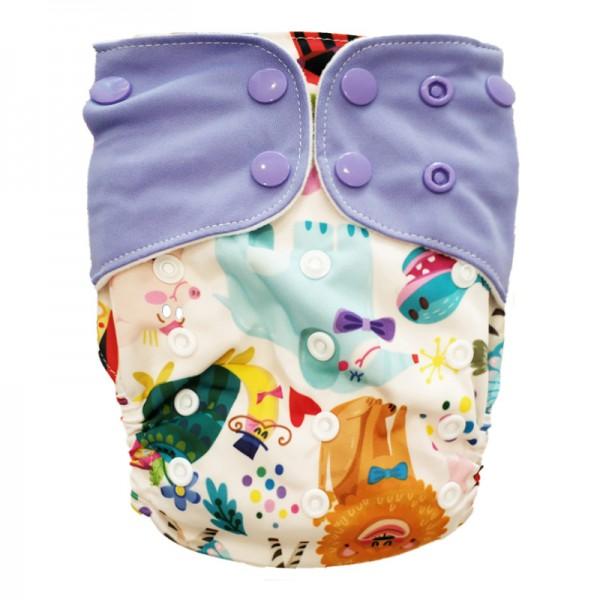 Πάνα Pocket One Size πολύχρωμη, με σχέδιο ζωάκια της ζούγκλας και λιλά φτερά