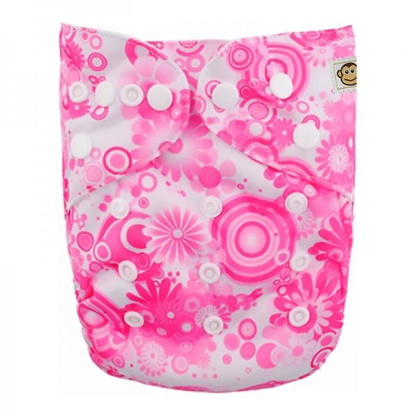 Πάνα Pocket One Size πολύχρωμη, με σχέδιο λουλουδάκια