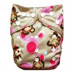 Πάνα Pocket One Size πολύχρωμη, με σχέδιο πιθηκάκια