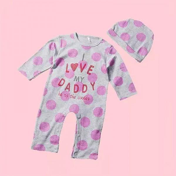 """Φορμάκι βαμβακερό μακρυμάνικο """"I LOVE MY DADDY"""", γκρι - ροζ"""