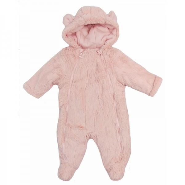 Fluffy φόρμα εξόδου με επένδυση, κουκούλα με αυτάκια και κλειστά πόδια, ροζ