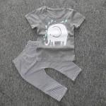 Σετ παντελονάκι - μπλουζάκι βαμβακερό Ελεφαντάκι, κοντομάνικο, γκρι - λευκό