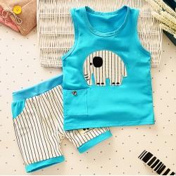 Σετ παντελονάκι - μπλουζάκι βαμβακερό με ραμμένο σχέδιο ελεφαντάκι dda3250cd36