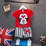 Σετ κοντό παντελονάκι - κοντομάνικο μπλουζάκι με στάμπα Μίκυ κόκκινο - λευκό