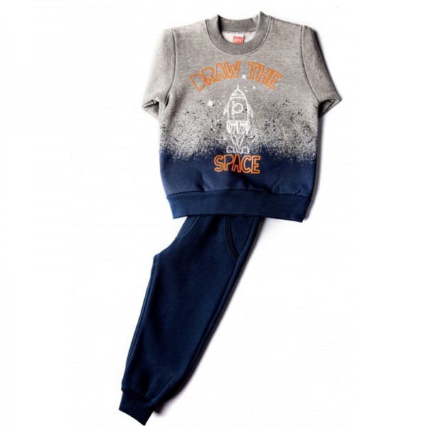 Σετ φούτερ παντελόνι - μπλούζα με τύπωμα SPACE, γκρι - μπλε