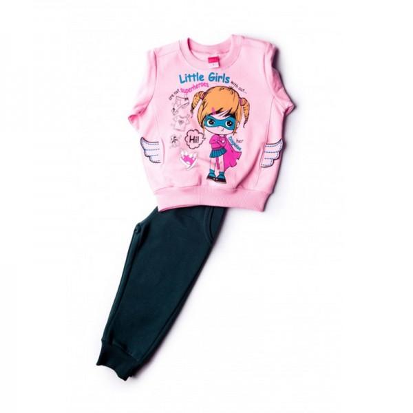 Σετ φούτερ παντελόνι - μπλούζα με τύπωμα SUPER GIRL, ροζ - μπλε