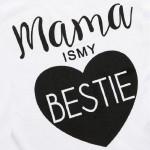 Σετ παντελόνι - κοντομάνικο μπλουζάκι με στάμπα 'Mama is my Bestie', λευκό - μαύρο