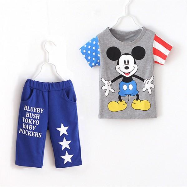 Σετ παντελόνι κάπρι - κοντομάνικο μπλουζάκι με στάμπα Μίκυ και αστέρια, γκρι - μπλε