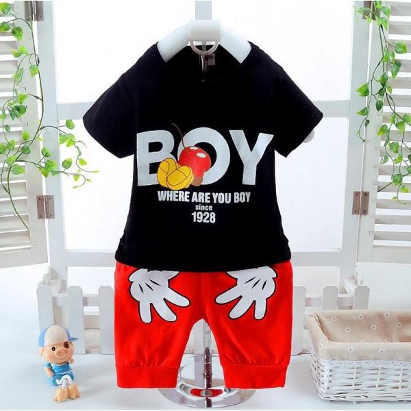 Σετ κοντό παντελονάκι - μπλούζα κοντομάνικη με στάμπα, σχέδιο Μίκυ και χεράκια, μαύρο - κόκκινο