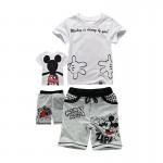 Σετ κοντό παντελονάκι - κοντομάνικο μπλουζάκι με στάμπα και σχέδια Μίκυ, γκρι - λευκό