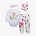 Σετ ζιπουνάκι, παντελόνι, σκουφάκι και κορδέλα με στάμπα 'Little Miracle', λευκό - ροζ - χρυσαφί