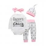 Σετ ζιπουνάκι, παντελόνι, σκουφάκι και κορδέλα με στάμπα 'DADDY'S other chick', λευκό - ροζ