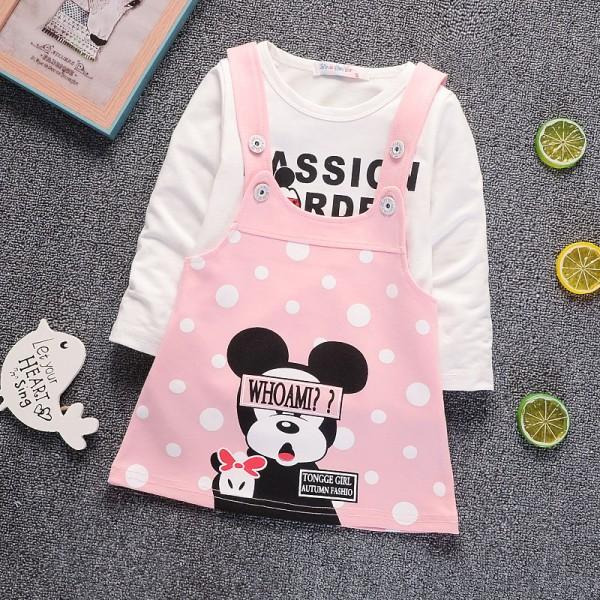 Σετ φορεματάκι - μπλούζα με στάμπα MINNIE, ροζ πουά - λευκό