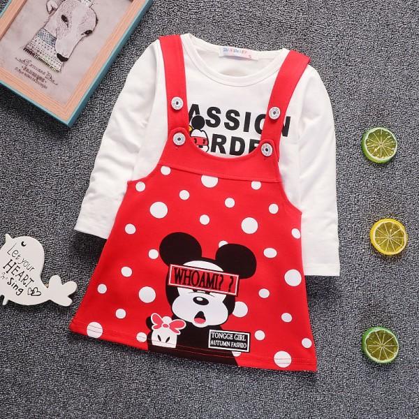 Σετ φορεματάκι - μπλούζα με στάμπα MINNIE, κόκκινο πουά - λευκό