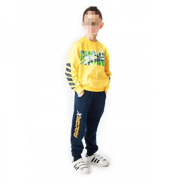Σετ εποχιακό παντελόνι - μπλούζα με τύπωμα ENGINE, κίτρινο - μπλε σκούρο