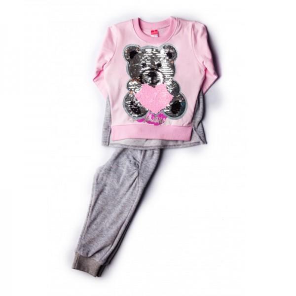 Σετ βελουτέ παντελόνι - μπλούζα με τύπωμα αρκουδάκι και πούλιες, ροζ - γκρι